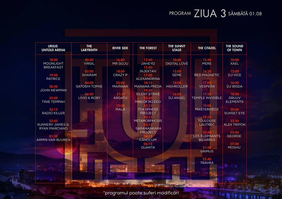 Program Untold Festival - ziua 3 - sambata
